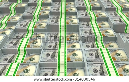 Multiple stacks of money just waiting for a winner to spend them. Rendered illustration. - stock photo