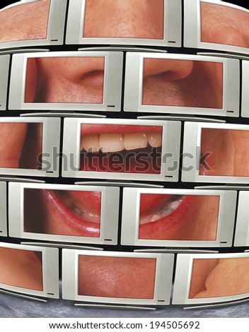 multiple televisions or monitors with man shouting - stock photo