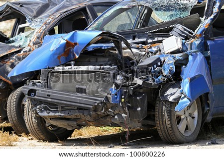 Multiple vehicle collision in high speed traffic accident - stock photo