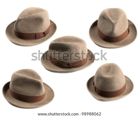 multiple view of a light brown fedora hat isolated on white - stock photo