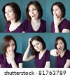 Multiple views of a young brunette woman with different facial expressions. - stock photo
