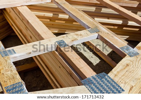 Multiple wood frames help made with joiner nail plates are ready to be used.  - stock photo