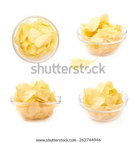Multiple yellow potato chips snacks in a glass bowl, composition isolated over the white background, set of four different foreshortenings - stock photo