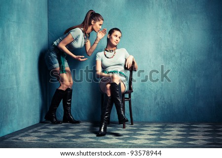 multiplied  women in old grungy room - stock photo