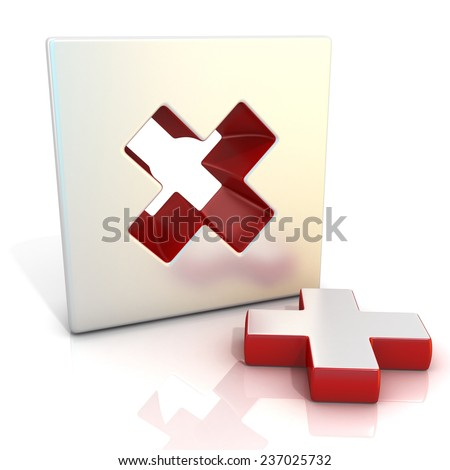 Multiply sign. 3D render illustration, isolated on white. Side view