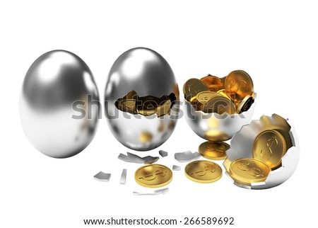 Multiplying money concept. Golden coins hatching from silver eggs process isolated on a white background - stock photo