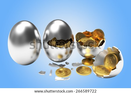 Multiplying money concept. Golden coins hatching from silver eggs process on a blue background - stock photo