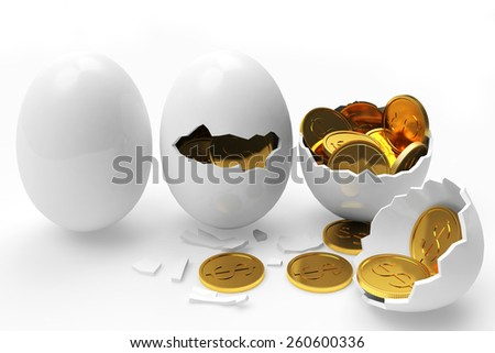 Multiplying money concept. Golden coins hatching from white eggs process isolated on a white background - stock photo
