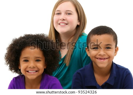 Multiracial Family Portrait Children Only Over White - stock photo