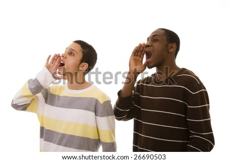 multiracial friends shouting to the copy space (isolated on white)