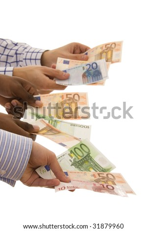 multiracial hands holding banknotes isolated on white (selective focus) - stock photo
