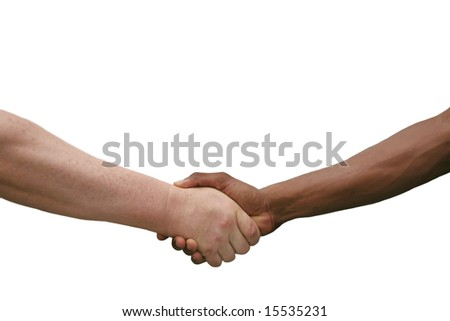 Multiracial Handshake Agreement Isolated on White