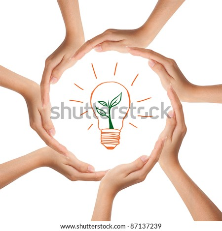 Multiracial human hands making a circle with Copy Space - stock photo