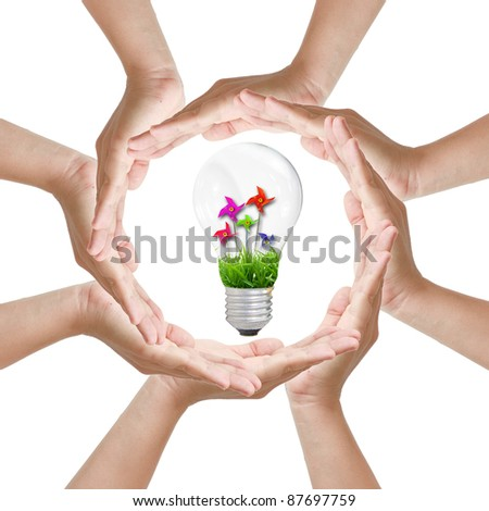 Multiracial woman hands making a circle with Light bulb toy - stock photo