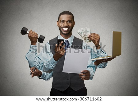 Multitasking happy business man isolated on grey wall background. Busy life of company manager corporate executive. Many errands concept - stock photo