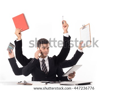 Multitasking man busy business manager task with white background. - stock photo
