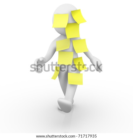 Multitasking man / Post it - stock photo