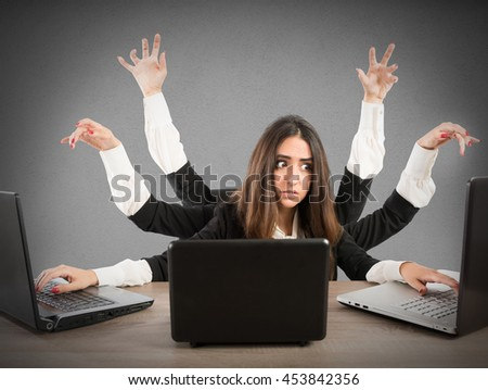 Multitasking secretary - stock photo