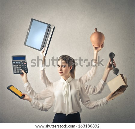 Multitasking Woman - stock photo