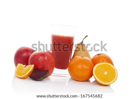 Multivitamin juice. Fresh fruit and juice in glass isolated on white background. Ripe pear, apple and orange juice. - stock photo
