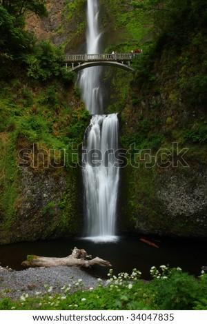 Multnomah Falls, Columbia River Gorge, Oregon State - stock photo