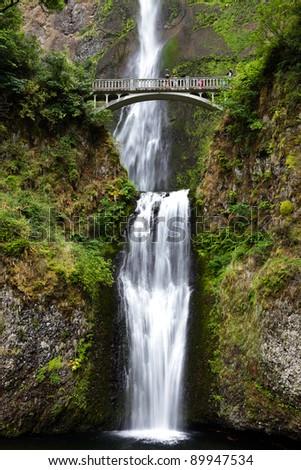 multnomah falls in Portland Oregon - stock photo