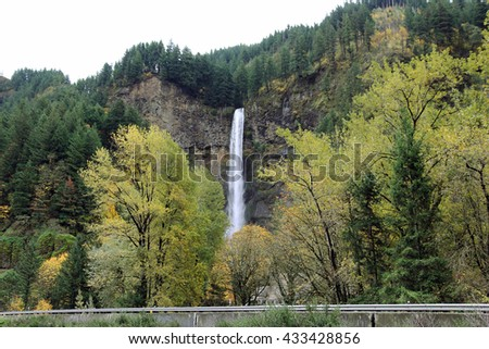 Multnomah Falls  in the Columbia River Gorge area, Oregon. View from Columbia River Highway - stock photo
