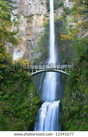 Multnomah Falls in the Columbia River Gorge Oregon - stock photo