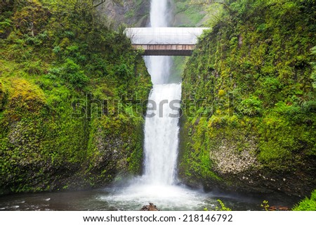 Multnomah Falls in Troutdale, Oregon at spring time - stock photo
