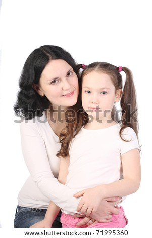 Mum and the small daughter. A happy family.