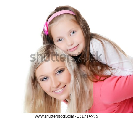 Mum with a daughter isolated on white - stock photo