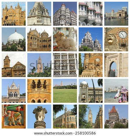 Mumbai city images group - stock photo