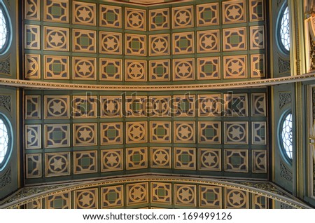 Mumbai, India - circa December 2013 - Decorative Ceiling in Colonial style of Dr. Bhau Daji Lad Museum
