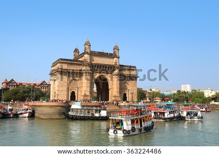Mumbai, INDIA - December 6 : Gateway of India was built by British raj in 1924,The structure is basalt arch, on December 6,2015 Mumbai, India - stock photo