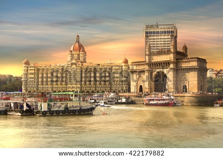 Mumbai, INDIA - December 6 : Gateway of India was built by British raj in 1924,The structure is basalt arch, on December 6,2015 Mumbai, India