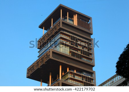 MUMBAI, INDIA - DECEMBER 6, 2015: World's second most expensive residential property, also known as Antilia, on December 6, 2015 in South Mumbai, India. - stock photo