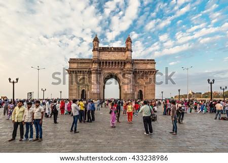 MUMBAI, INDIA - FEBRUARY 21: Gateway of India on Febuary 21, 2014 in Mumbai, India. - stock photo