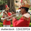 MUMBAI, INDIA-NOV.22: Traditional wedding band of musicians in India.on Nov. 22,2010 in Mumbai. The average budget for an Indian wedding ceremony in the middle class is estimated to be US$ 34,000. - stock photo
