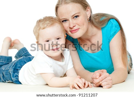 mummy and her kid on a white