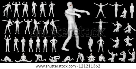 Mummy in bandages - costume for Halloween set on a black background - stock photo
