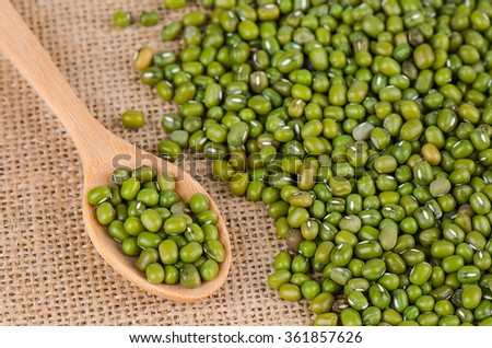 Mung beans and wooden spoon, Green beans. - stock photo
