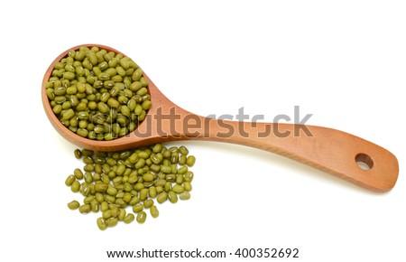 Mung beans isolated on white background - stock photo