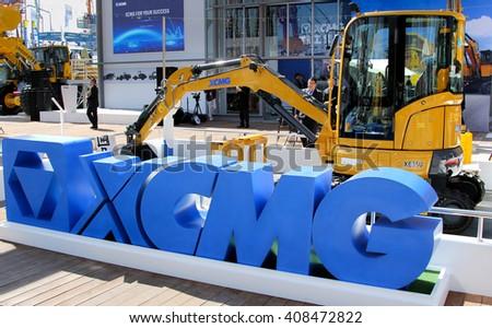 Munich, April 11, 2016: Mini excavator XCMG XE 35U at bauma Munich 2016 - stock photo