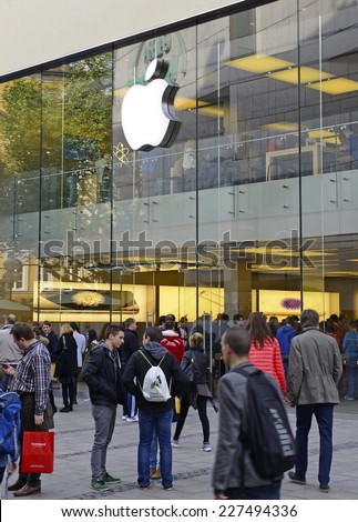 MUNICH -CIRCA OCTOBER, 2014. Loyal customers brave crowds inside and outside the Apple Store in the heart of Munich's main city square for the iPhone 6 which recently went on sale in Germany.