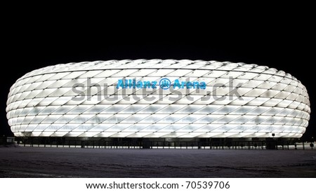 MUNICH - DECEMBER 28: Exterior view of Allianz Arena where World Cup soccer match took place in 2006, after large snow on December 28 2010  in Munich, Germany