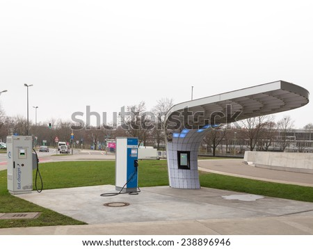 Munich - 3 December 2014: Petrol stations for electric cars next to the museum BMW 3 December 2014, Munich, Germany