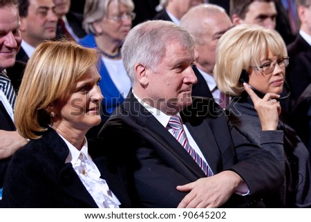 MUNICH - DECEMBER 10: Prime Minister of Bavaria Horst Seehofer (m), his wife Karin (l) and Irina, daughter of Mikhail Gorbachev (r) attends the Franz Josef Strauss prize ceremony on December 10, 2011 in Munich, Germany.