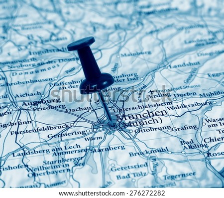 Munich destination in the map - stock photo