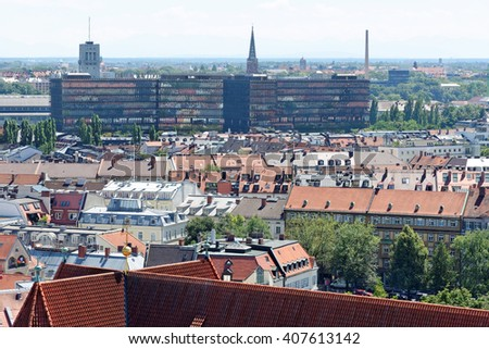 Munich, Germany. Aerial view from the New Town Hall. EPO (European Patent Office) building inthe distance. Munuch is the capital and largest city of the German state of Bavaria. - stock photo