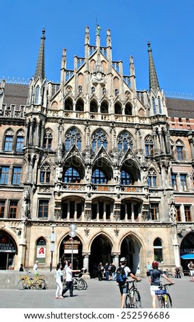 MUNICH, GERMANY - APRIL 22 :  Gothic style New Town Hall in Munich Germany on April 22, 2011. - stock photo